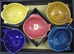 colorful fish shaped serving dish set