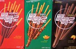Lotte brand Pepero Cookie Stick Snacks in various flavors