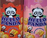Hello Panda cookie snacks in Chocolate and Strawberry