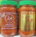Huy Fong Foods brand Sambal Oelek Ground Fresh Chili Paste and Chili Garlic sauce are both available in the 8 oz. bottle