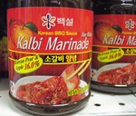 CJ Foods brand Kalbi Sauce (great on ribs, best taste comes from grilling over charcoal, Joe)